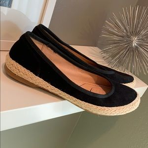 NWOT Sofft Black Macee Leather Jute Flats Size 7